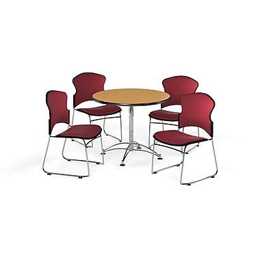 OFM – Table ronde polyvalente de 36 po en stratifié chêne et 4 chaises rouge vin (845123056172)