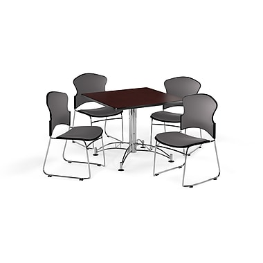 OFM – Table carrée et polyvalente de 42 po en stratifié acajou avec 4 chaises grises (845123056608)
