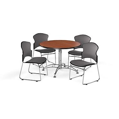 OFM – Table ronde et polyvalente de 42 po en stratifié cerisier avec 4 chaises grises (845123056363)