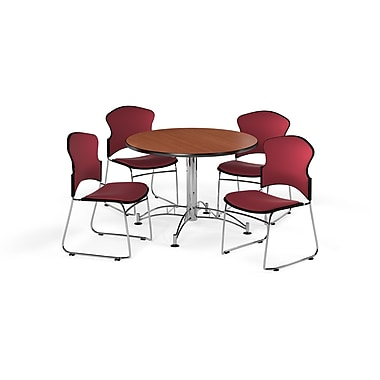 OFM – Table ronde et polyvalente de 42 po en stratifié cerisier avec 4 chaises couleur vin (845123056370)