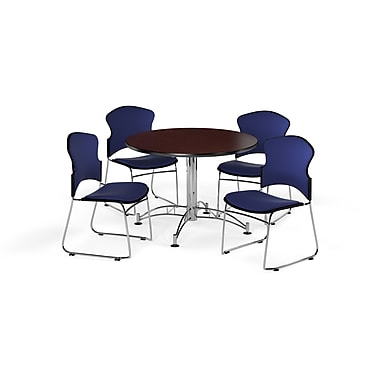 OFM – Table ronde et polyvalente de 42 po en stratifié acajou avec 4 chaises bleu marine (845123056462)