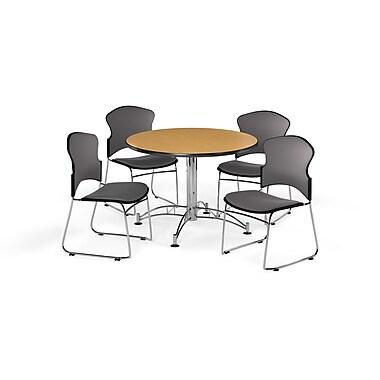 OFM – Table ronde et polyvalente de 42 po en stratifié chêne avec 4 chaises grises (845123056486)