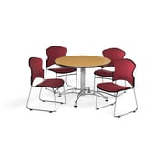 "OFM 42"" Round Laminate Multi-Purpose Table with 4 Chairs, Oak Table/Wine Chairs (PKG-BRK-043-0014)"