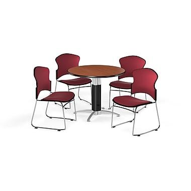 OFM – Table ronde polyvalente de 36 po en stratifié cerisier avec base en maille et 4 chaises rouge vin (845123056691)