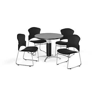 OFM – Table ronde polyvalente de 42 po en stratifié gris nébuleux avec base en mailles et 4 chaises noires (845123057070)