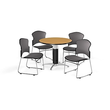 OFM – Table ronde polyvalente de 36 po en stratifié chêne avec base en mailles et 4 chaises grises (845123056806)
