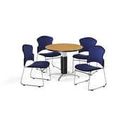 "OFM 42"" Round Laminate Multi-Purpose Mesh-Base Table with Four Chairs, Oak Table/Navy Chair (PKG-BRK-047-0015)"
