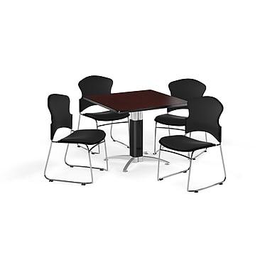OFM – Table carrée et polyvalente de 42 po en stratifié acajou avec base en mailles et 4 chaises noires (845123057278)