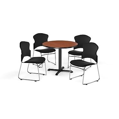 OFM – Table ronde et polyvalente de 36 po de série X en stratifié cerisier avec 4 chaises noires (845123057353)
