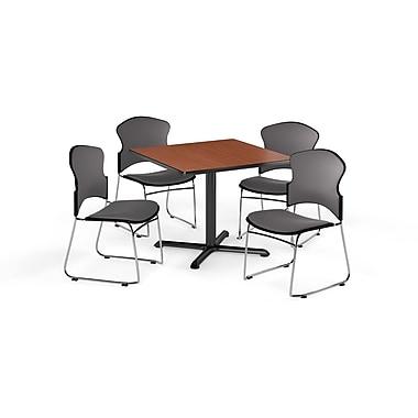 OFM – Table carrée et polyvalente de série X de 42 po en stratifié cerisier avec 4 chaises grises (845123057803)