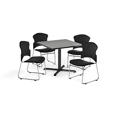 OFM – Table carrée et polyvalente de série X de 42 po en stratifié gris nébuleux avec 4 chaises noires (845123057872)