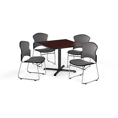 OFM – Table carrée polyvalente de 36 po en stratifié acajou de la gamme X et 4 chaises grises (845123057568)