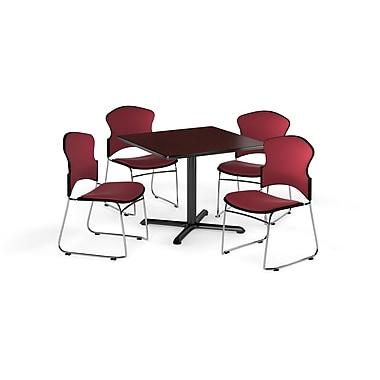 OFM – Table carrée polyvalente de 36 po en stratifié acajou de la gamme X et 4 chaises rouge vin (845123057575)