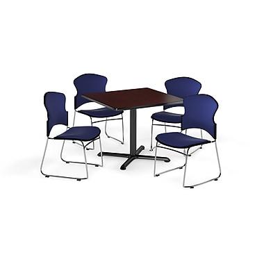 OFM – Table carrée polyvalente de 36 po en stratifié acajou de la gamme X et 4 chaises bleu marine (845123057582)