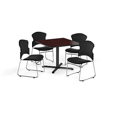 OFM – Table carrée et polyvalente de série X de 42 po en stratifié acajou avec 4 chaises noires (845123057919)