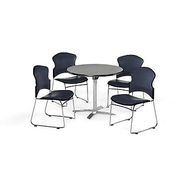 OFM – Table ronde polyvalente de 42 po en stratifié gris nébuleux avec plateau repliable et 4 chaises bleu marine (845123058442)