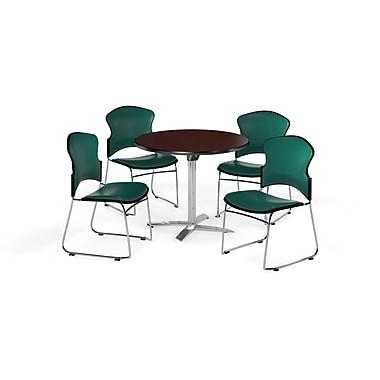 OFM – Table ronde et polyvalente de 36 po avec dessus pliable en stratifié acajou et 4 chaises bleu sarcelle (845123058060)