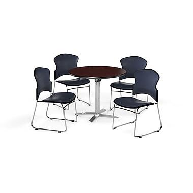 OFM – Table ronde et polyvalente de 42 po avec dessus pliable en stratifié acajou et 4 chaises bleu marine (845123058497)