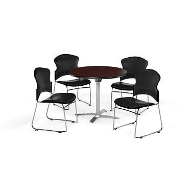 OFM – Table ronde et polyvalente de 36 po avec dessus pliable en stratifié acajou et 4 chaises noires (845123058107)