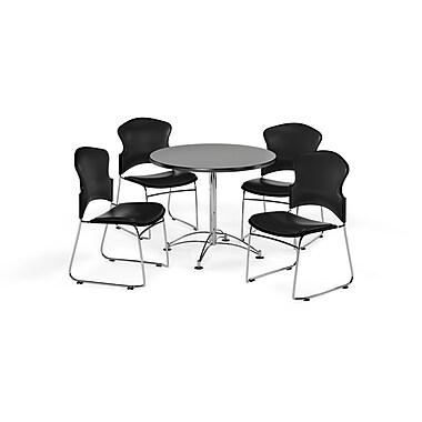 OFM – Table ronde et polyvalente de 36 po en stratifié gris nébuleux avec 4 chaises noires (845123058855)