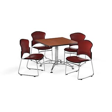 OFM – Table carrée et polyvalente de 42 po en stratifié cerisier avec 4 chaises couleur vin (845123059371)