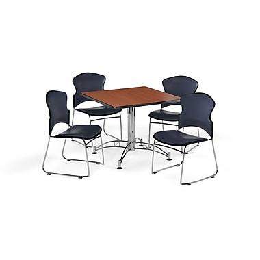 OFM – Table carrée et polyvalente de 42 po en stratifié cerisier avec 4 chaises bleu marine (845123059395)