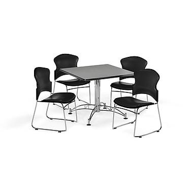 OFM – Table carrée et polyvalente de 42 po en stratifié gris nébuleux avec 4 chaises noires (845123059456)