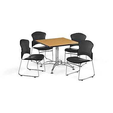 OFM – Table carrée et polyvalente de 36 po en stratifié chêne avec 4 chaises gris anthracite (845123059135)