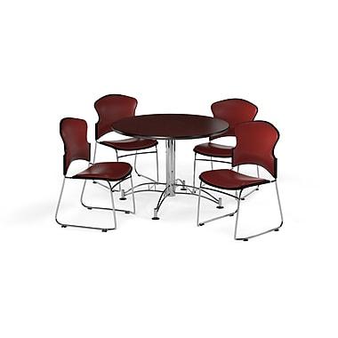 OFM – Table ronde et polyvalente de 42 po en stratifié acajou avec 4 chaises couleur vin (845123059272)