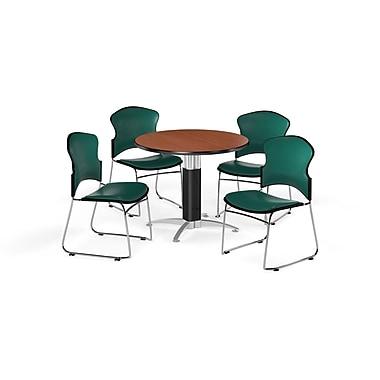OFM – Table ronde polyvalente de 42 po en stratifié cerisier avec base en mailles et 4 chaises bleu sarcelle (845123059968)