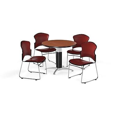 OFM – Table ronde polyvalente de 42 po en stratifié cerisier avec base en mailles et 4 chaises rouge vin (845123059975)