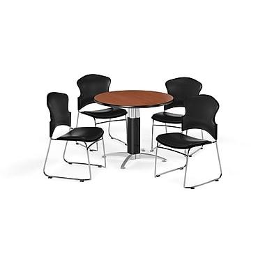OFM – Table ronde et polyvalente de 42 po en stratifié cerisier avec base en mailles et 4 chaises noires (845123060001)