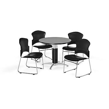 OFM – Table ronde polyvalente de 36 po en stratifié gris nébuleux avec base en mailles et 4 chaises noires (845123059654)