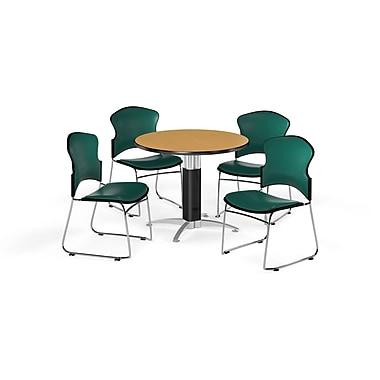 OFM – Table ronde polyvalente de 36 po en stratifié chêne avec base en mailles et 4 chaises bleu sarcelle (845123059715)
