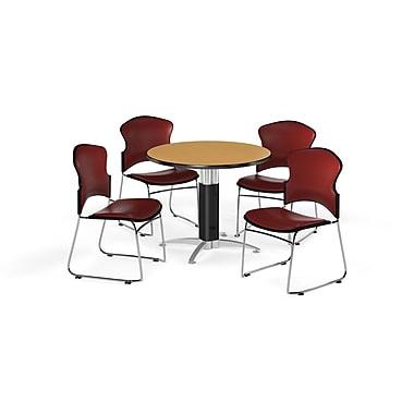 OFM – Table ronde et polyvalente de 42 po en stratifié chêne avec base en mailles et 4 chaises couleur vin (845123060124)