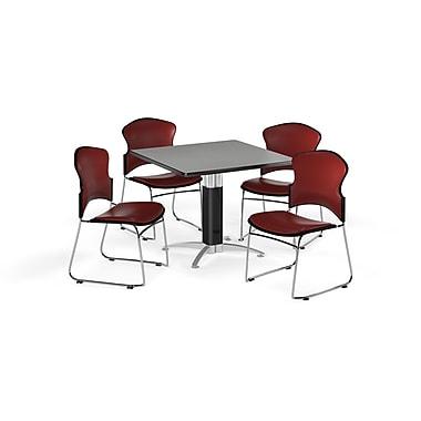 OFM – Table carrée polyvalente de 36 po en stratifié gris nébuleux avec base en mailles et 4 chaises couleur vin (845123059821)