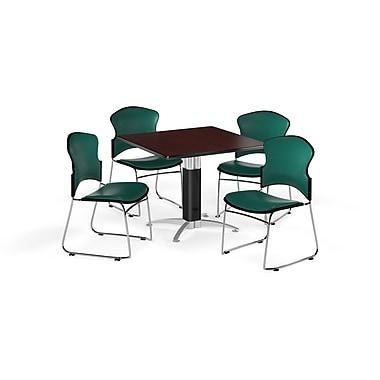 OFM – Table carrée et polyvalente, base en mailles, 42 po en stratifié acajou, 4 chaises bleu sarcelle (845123060261)