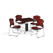 "OFM 42"" Square Laminate Multi-Purpose Mesh-Base Table with Four Chairs, Mahogany Table/Wine Chair (PKG-BRK-064-0012)"