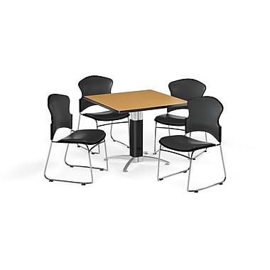 OFM – Table carrée polyvalente de 36 po en stratifié chêne avec base en mailles et 4 chaises gris anthracite (845123059937)