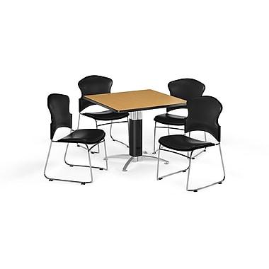OFM – Table carrée polyvalente de 36 po en stratifié chêne avec base en mailles et 4 chaises noires (845123059951)