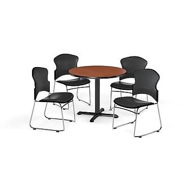 OFM – Table ronde polyvalente de 42 po en stratifié cerisier de la gamme X avec 4 chaises gris anthracite (845123060780)