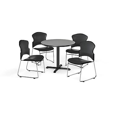 OFM – Table ronde et polyvalente de série X de 42 po en stratifié gris nébuleux avec 4 chaises gris anthracite (845123060834)