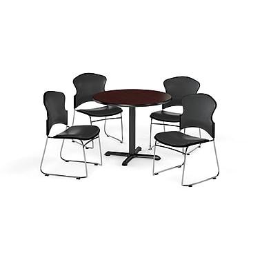 OFM – Table ronde et polyvalente de série X de 36 po en stratifié acajou avec 4 chaises gris anthracite (845123060483)