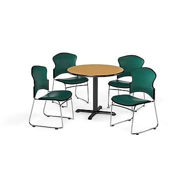 OFM – Table ronde et polyvalente de série X de 42 po en stratifié chêne avec 4 chaises couleur bleu sarcelle (845123060919)
