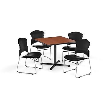 OFM – Table carrée et polyvalente de série X de 36 po en stratifié cerisier avec 4 chaises noires (845123060605)