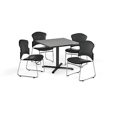 OFM – Table carrée et polyvalente de série X de 42 po en stratifié gris nébuleux avec 4 chaises gris anthracite (845123061039)
