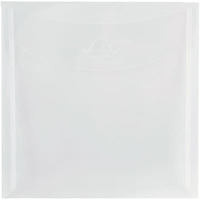 JAM Paper® Plastic Envelopes with Tuck Flap Closure, 6 1/8 x 6 1/8 square, Clear Poly, 12/pack (1541747)