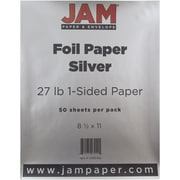JAM Paper® Foil Paper 1-Sided - 8.5 x 11 - 27lb Silver - 50/pack