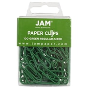 JAM Paper® Colored Standard Paper Clips, Small, Green Paperclips, 100/pack (2183752)