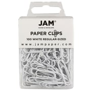 JAM Paper® Colored Standard Paper Clips, Small, White Paperclips, 100/pack (2183755)